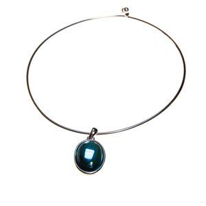 COUTURE BLUE GLASS CABOCHON PENDANT NECKLACE